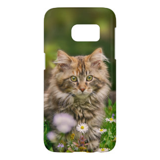 Cute Maine Coon Kitten Cat Flower Meadow Phonecase