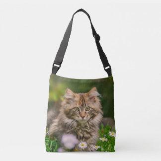Cute Maine Coon Kitten Cat Flower Meadow Photo on Crossbody Bag