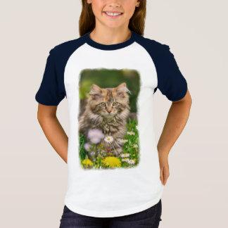 Cute Maine Coon Kitten Cat Flower Meadow - Raglan T-Shirt