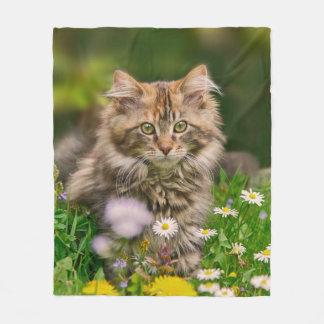 Cute Maine Coon Kitten Cat in Flower Meadow - cozy Fleece Blanket
