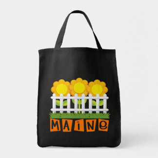 Cute Maine Sunflower Grocery Tote Bag