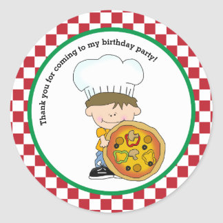 Cute Make Your Own Pizza Party Boy Thank You Favor Round Sticker