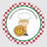 Cute Make Your Own Pizza Party Boy Thank You Round Sticker