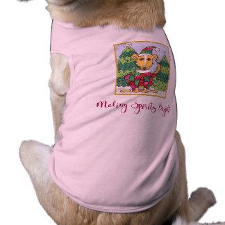 Cute Making Spirits Bright Holiday Pet Outfit Dog Shirt