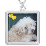 Cute Maltipoo pup valentine necklace