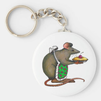 Cute Mama Rat With Pie: Drawing: Color Pencil Basic Round Button Key Ring