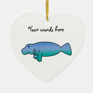 Cute manatee christmas ornament