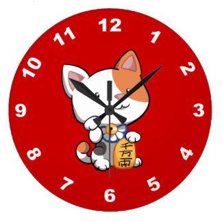 Cute Maneki Neko (Lucky Beckoning Cat) Clock