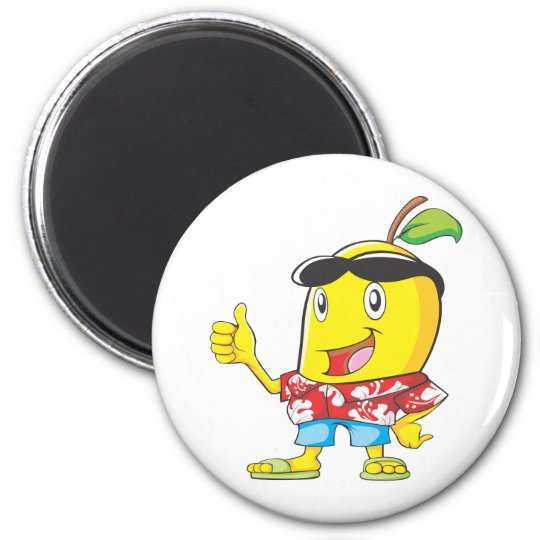 Cute Mango in Hawaiian Shirt Two Thumbs Up! 6 Cm Round Magnet