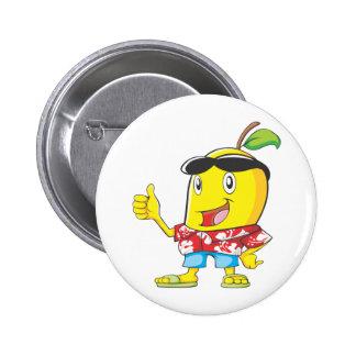 Cute Mango in Hawaiian Shirt Two Thumbs Up! 6 Cm Round Badge