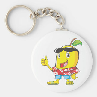 Cute Mango in Hawaiian Shirt Two Thumbs Up! Basic Round Button Key Ring