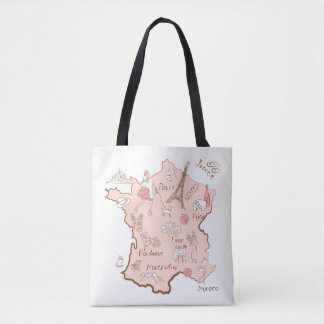 Cute Map of France Tote Bag