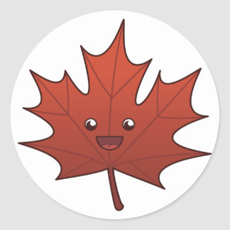 Cute Maple Leaf Classic Round Sticker