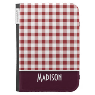 Cute Maroon Checkered Cases For Kindle