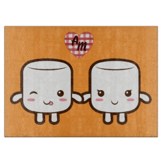 Cute Marshmallow couple Cutting Boards