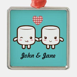 Cute Marshmallow couple Christmas Ornament