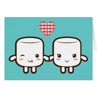 Cute Marshmallow couple Greeting Card