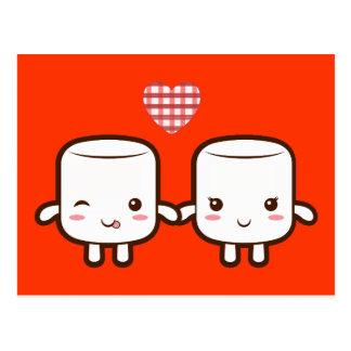 Cute Marshmallow couple Postcard