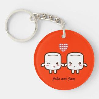 Cute Marshmallow couple Single-Sided Round Acrylic Key Ring