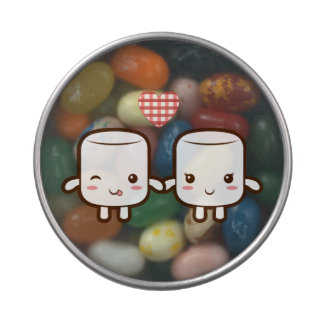 Cute Marshmallow couple Jelly Belly Candy Tin