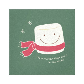 Cute Marshmallow Greetings Christmas Wall Art Gallery Wrap Canvas