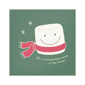 Cute Marshmallow Greetings Christmas Wall Art Gallery Wrap Canvas