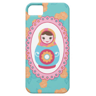 Cute Matryoshka Russian Nesting Doll & Orange Rose Barely There iPhone 5 Case