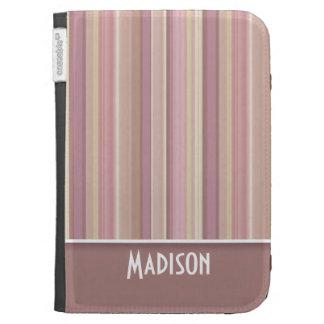 Cute Mauve, Brown Stripes Kindle Cases