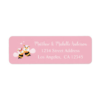 Cute Meant To Bee Whimsical Pink Wedding Address