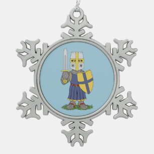 Cute Mediaeval Knight Snowflake Pewter Christmas Ornament
