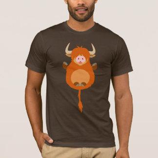 Cute Meditating Cartoon Highland Cow T-Shirt