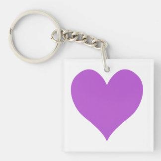 Cute Medium Orchid Heart Key Ring