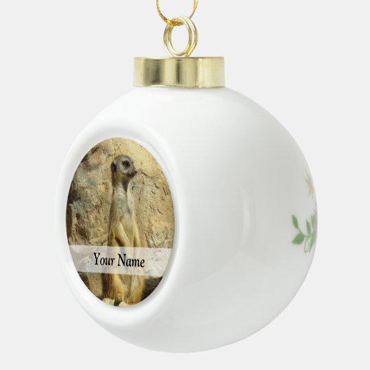 Cute meerkat photograph ceramic ball christmas ornament
