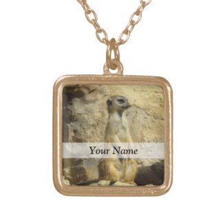 Cute meerkat photograph gold plated necklace