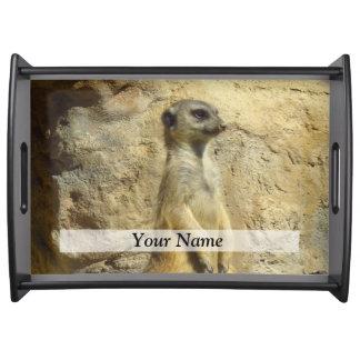 Cute meerkat photograph serving tray