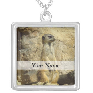 Cute meerkat photograph silver plated necklace