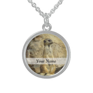 Cute meerkat photograph sterling silver necklace