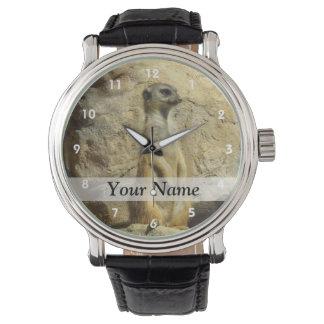 Cute meerkat photograph wrist watches