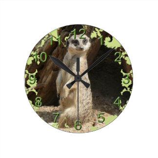 Cute Meerkat Round Clock