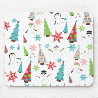 Cute Melting Snowman Funky Christmas Trees Mouse Pads