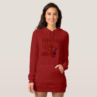 Cute Menorah & Dreidel Red Cranbury Hoodie Dress