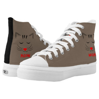Cute Meow Pussy Cat Face Design High Tops