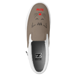 Cute Meow Pussy Cat Face Design Slip On Shoes