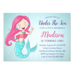 Mermaid 1st Birthday Invitations