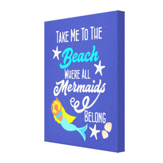 Cute Mermaid  Beach Themed Slogan Graphic Canvas Print