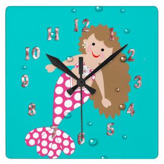 Cute Mermaid Decor Wall Clock