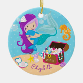 Cute Mermaid & Dolphin Christmas Ornament