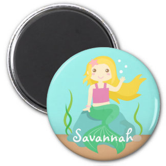Cute Mermaid from the Ocean, For Girls 6 Cm Round Magnet