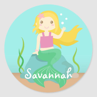 Cute Mermaid from the Ocean, For Girls Round Sticker