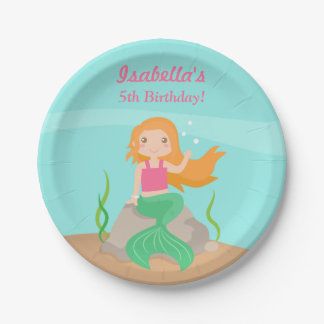 Cute Mermaid Girls Birthday Party Plates 7 Inch Paper Plate